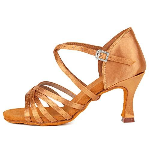 TINRYMX Zapatos de Baile Latino Mujer Salsa Zapatillas de Baile de Salon de Satén Zapatos de Baile Baratos,ZS213/XGG