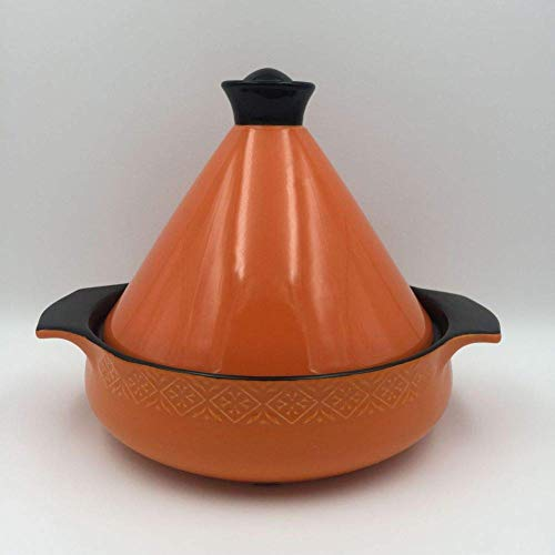 Tajine Topf, Keramikpfanne Marokkanische Bonbonfarbe Kochtopf Antihaft-Hochtemperatur-Eintopf mit Muster Open Fire Gas Safe-Orange