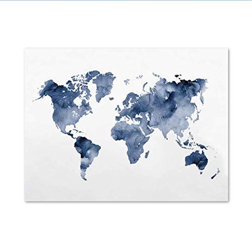 RuiChuangKeJi Arte de la Pared Pintura de la Lona Azul Mapa del Mundo Imprimir Mapa del Azul Marino Cartel Regalo del Viajero Cuadro Abstracto de la Acuarela Decoración de la Sala 60x80cm Sin Marco