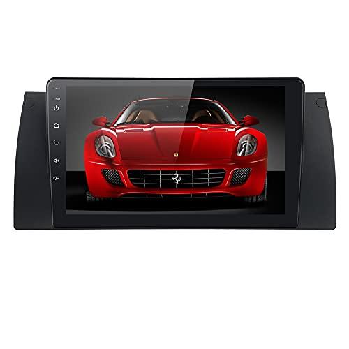 Radio Android 10 Autoradio Player con Bluetooth Navegación GPS 9 Pulgadas 1024X600 HD Pantalla táctil Control del Volante WiFi 4G USB SD CAM-in Dab + Se Adapta a BMW 5 Serie E39 BMW X5 E53 BMW M5
