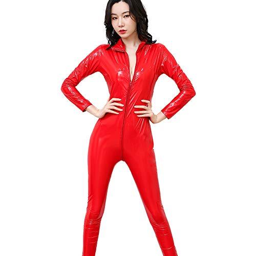 Frauen Sexy Bright Leder Lackleder Strumpfhose Plus Damen Wet Look Body Ouvert Hose Latex Catsuit Nightclub Club Stage Performance Kostüm,Rot,L