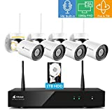 Pan Tilt Wireless Security Camera System with 1TB Hard Drive and Audio, Kittyhok 8CH 4pcs 1080p PTZ Wifi Camera Outdoor/Indoor, 100ft Night Vision, Weatherproof, Motion Detection, Remote View Control