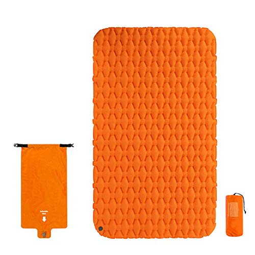 Nuomeisi Ultralight Camping Mat, Portable Inflatable Sleeping Pad Waterproof and Moisture-Proof Double Mattress Camping Mat, Suitable for Backpacking Trekking Camping and Hiking,Orange