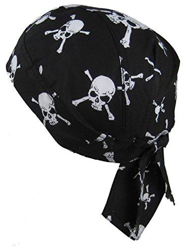 Bandana pañuelo para la cabeza pre atada calaveras blancos sobre fondo negro