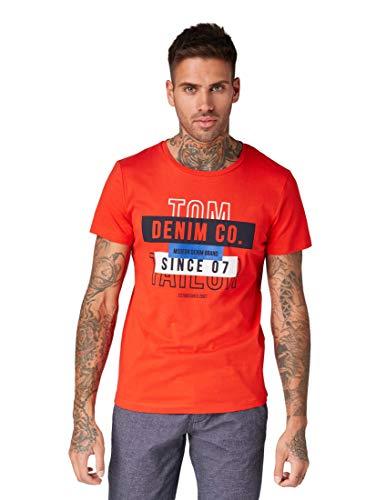 Tom Tailor Denim (NOS) Herren T-Shirt Basic Angesagtem Statement Print, Rot (Basic Red 13189), X-Large (Herstellergröße: XL)