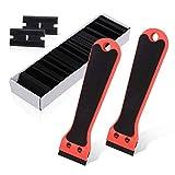 Ehdis 2 Kunststoff Mini Rasiermesser Schaber 6-Zoll-EVA-Schaum mit langem Griff und 100 zweischneidigen Klingen für Vinyl Aufkleber Sticker entfernen