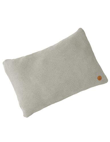 Bio Strick-Kissenbezug 100% Bio-Baumwolle (kbA) GOTS zertifiziert, Grau-Vanille Melange, 40 x 60 cm