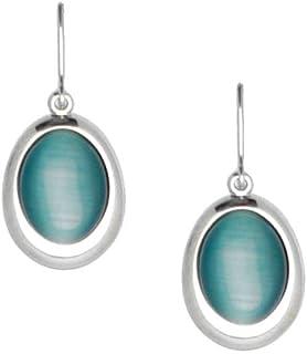 Acosta–Aqua Blue Cats Eye Stone–classico ovale orecchini a goccia (colore argento), in confezione regalo