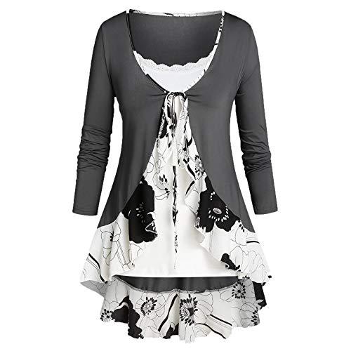 VEMOW Sommer Herbst Elegant Damen Oberteil Langarm O Neck Printed Flared Floral Beiläufig Täglich Geschäft Trainieren Tops Tunika T-Shirt Bluse Pulli(A3-Grau, 52 DE / 5XL CN)