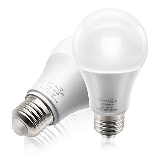 BeiLan 2x LED E27 Schraube Glühbirne 9W 850LM 6500K Tageslicht Weiß Nicht-Dimmbare Äquivalent 60W Glühlampen AC85-265V 50/60Hz für Home Office Innenbeleuchtung