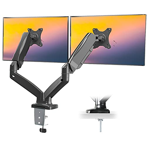 IMLIB Dual Monitor Mount - Gas Spring Dual Arm Monitor Desk Mount Height Adjustable, Tilt, Swivel, VESA Bracket Arm for Computer Screen up to 32 Inch, Each Arm Hold 4.4 to 17.6lbs