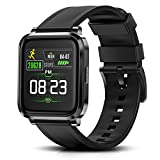 RTAKO Smart Watch for Men Women, Fitness Tracker Watch with Heart Rate Monitor Blood Oxygen Meter, IP68 Swimming Waterproof Smartwatch Compatible with iPhone Android Phones DIY Clock Faces Black