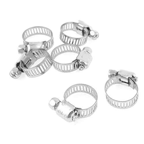 X-DREE 6 Pcs 9-16mm Adjustable Stainless Steel Hoop Ring Worm Gear Hose Clamp(6 piezas 9-16 mm ajustable anillo de aro de acero inoxidable tornillo sin fin abrazadera de manguera abrazadera