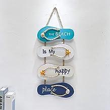 Nautische strand flip flop muur ornament houten pantoffels hangende decoratie oceaan woondecoratie voor muur en deur