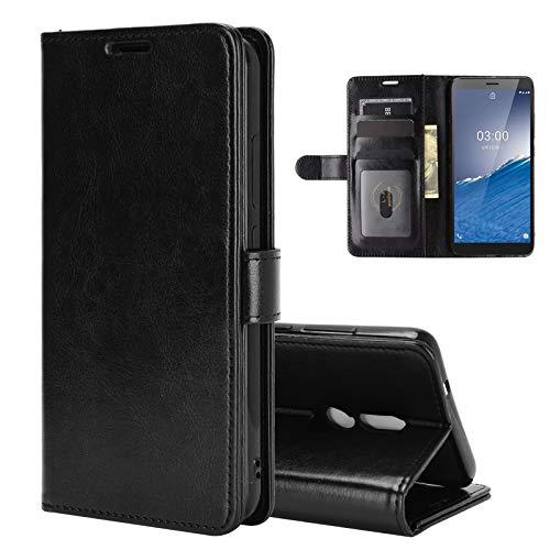 ROVLAK Custodia per Nokia C3 Case Portafoglio Flip Cover con Slot per Schede Custodia in Pelle Antiurto PU + Case in Silicone TPU Interna per Nokia C3 Cover,Nero