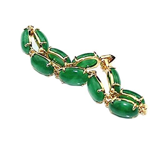 yigedan Pulsera de piedra natural de jade verde con forma de huevo chapada en oro de 18 KGP