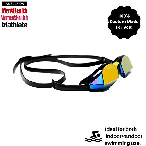 THEMAGIC5 | Custom Fit Swim Goggles | Custom for Your Face to Prevent Leaking Fogging & Discomfort | Elite Competition Goggles for Racing Triathlons & Everyday Exercise | Blue Magic Mirror Gold