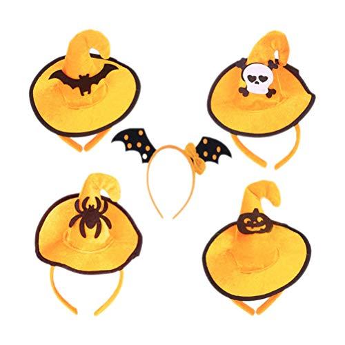 Lurrose 5pcs Halloween diadema calabaza pelo aro araña murciélago naranja bruja sombrero banda de pelo máscara Cosplay accesorios