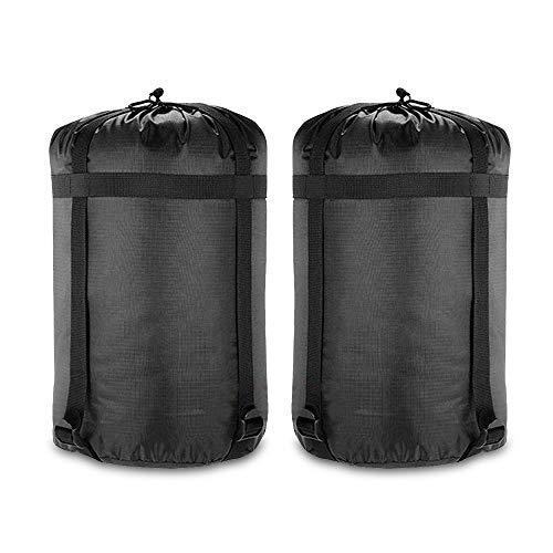 GEERTOP 2 Pack 24 L Kompression Stuff Sack Nylon Schlafsack Aufbewahrungs Beutel Organizer für Outdoor Camping Groß Schwarz