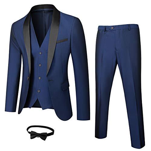 MY'S Mens 3-Piece Suit Shawl Lapel One Button Tuxedo Winter Fabric Slim Fit Premium Dinner Jacket Vest Pants & Tie Set Deep Blue