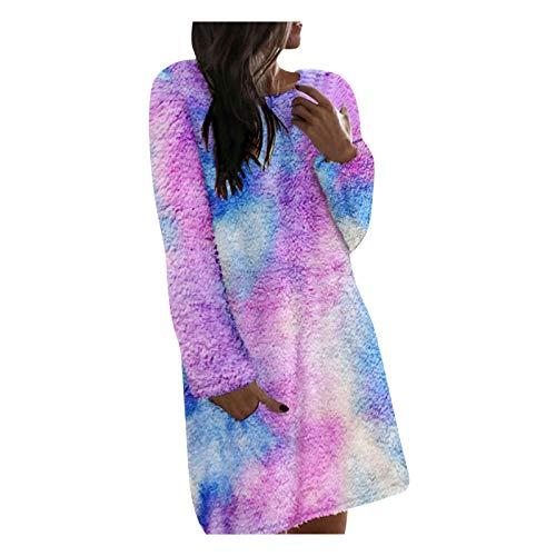 YANFANG suéter de Invierno de Las Mujeres Imprimen Cuello Redondo Talla Grande Casual casa Mezcla de algodón Vestidos Casuales de Felpa