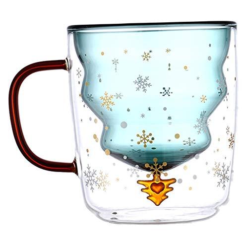 MERIGLARE Taza de café de dibujos animados de doble pared con aislamiento capuchino taza de agua de leche té - 300ML_with tapa