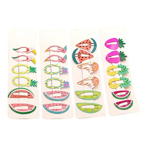 Beaupretty 24 unids Broche para el Cabello Clips Coloridos Frutas Forma Animal Sin Resbalón Barrettes de Pelo de Metal Pinzas de Pelo Lindo para Mujeres niñas niños