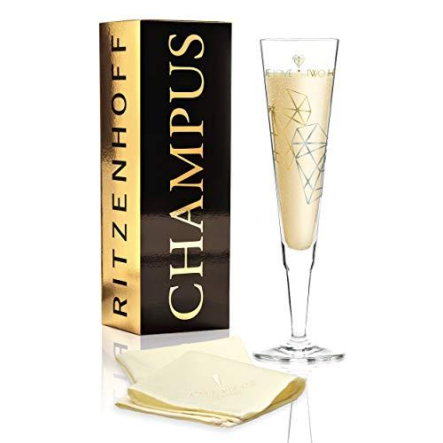 RITZENHOFF Champus champagneglas van Angela schuiver, van kristalglas, 200 ml, met edele goud- en platina-aandelen, incl. stoffen servet