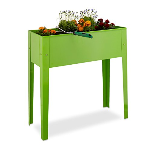 Relaxdays Hochbeet, Metall, 4 Beine, Pflanzkübel, Kräuterbeet, Balkon, Terrasse, HBT: 80,5 x 81,5 x 31 cm, hellgrün