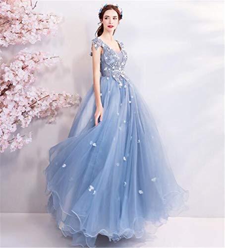 LYJFSZ-7 Hochzeitskleid,Hellblauer Romantischer Rock Elegantes Brautkleid Ärmellos Nicht Benutzerdefiniert No. 07444