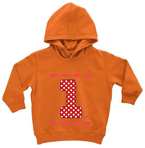 HARIZ HARIZ Baby Hoodie Gepunktete Krone 1 Geburtstag Geschenkidee Plus Geschenkkarte Spielzeugauto Orange 1-2 Jahre