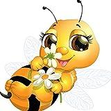 Dybjq Bordado de diamantes 5D de dibujos animados de abejas 5D DIY pintura de diamante punto de cruz abejas redondo diamante set de decoración sin terminar regalo para niños 40 x 50 cm