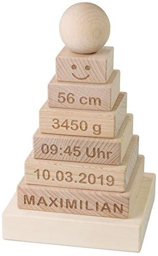 LAUBLUST Stapelturm Personalisiert mit Wunsch-Gravur - Motorikspielzeug für Kinder - Natur, Holz, ca. 11 x 11 x 19 cm