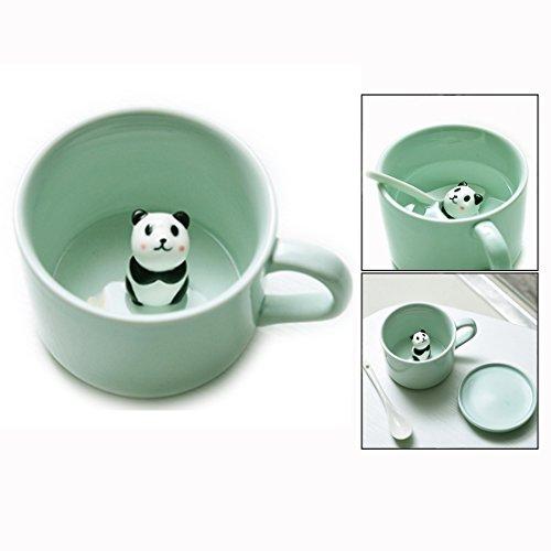 Itian 3D Tier Keramik Becher,Kreative Kaffee Milch Tee Tasse mit Panda Innere Für Geburtstage Geschenk
