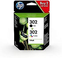 HP 302 X4D37AE, Pack de 2, Cartuchos de Tinta Originales Negro y Tricolor, (Por HP DeskJet 1110/2130/3630, HP ENVY...