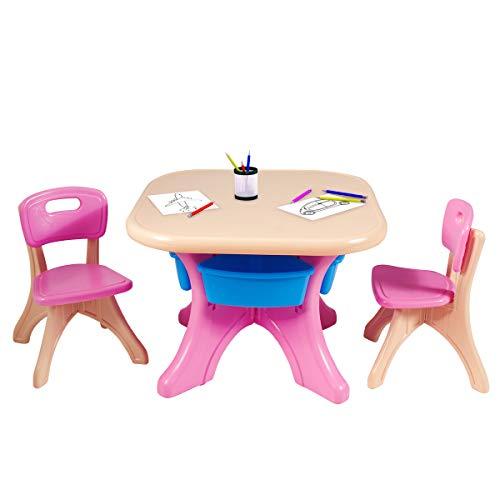COSTWAY Sitzgruppe Kinder, 3tlg. Kindersitzgruppe, Kindertisch mit 2 Kinderstühlen, Kindertischgruppe PE, mit Aufbewahrungsboxen (Rosa)