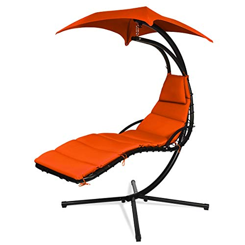 Giantex Hanging Chaise Lounger Chair, Arc Stand Porch Swing Chair w/Canopy, Cushion Built-in Pillow, Outdoor Freestanding Swing Hammock Chair for Patio Poolside Backyard Garden (Orange)