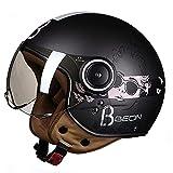 DDH Casco de Motocicleta, Casco Jet, Certificado por ECE y Punto, Casco de Scooter de piloto de Jet Vintage, visores Separados, Incluyendo Beige, m, l, XL-Black  L