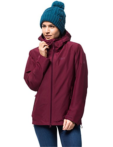 Jack Wolfskin Damen Chilly Morning JKT W Winterwanderjacke Wasserdicht Winddicht Atmungsaktiv Wetterschutzjacke, Garnet rot, XL