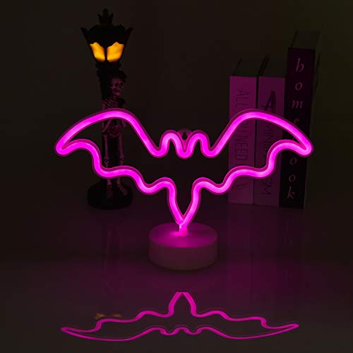 Neon Sign Halloween Night Lights, Bat Shape Battery Operated Table Lamp with Base Stand, Neon Lights for Bedroom, Living Room, Party Decoration (Purple)