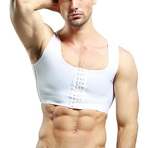 SHANGXIAN Herren Abnehmen Körperformer Kompressionshemd Gynäkomastie Weste Shapewear Moobs Corset Unterhemden,White,XXL