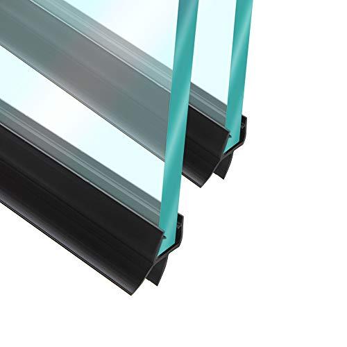 HO-LI Duschdichtung für Duschtüren, Glastüren in Schwarz | für 5,6,7,8mm Glasstärke | 200cm (Set 2 * 100cm) | Wasserabweisende Duschtürdichtung | Ersatzdichtung
