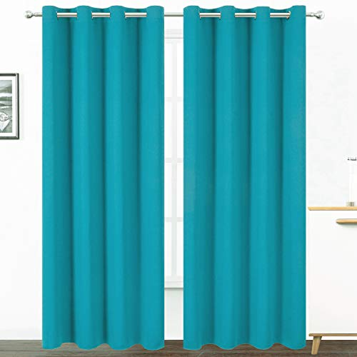 LEMOMO Teal/Turquoise Kids Blackout Curtains for Bedroom/52 X 84 Inch/Set of 2 Panels Thermal Insulated Living Room Curtains