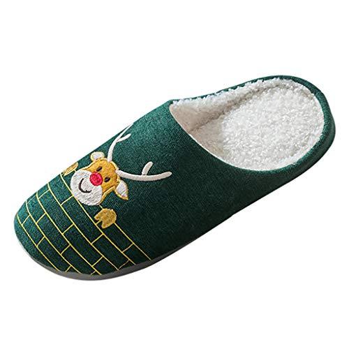 MINIKIMI dierenpantoffels Kerstmis eland pantoffels knuffelige herfst en winter warm katoen pluche pantoffels rendier druk grappige indoor home slipper