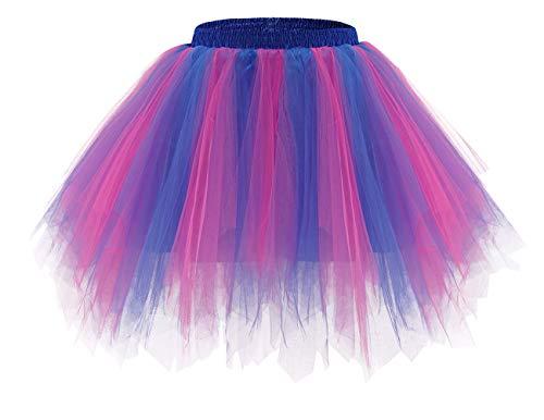 Bridesmay Mujeres Faldas Enaguas Cortas Tul Plisada Fiesta Tutu Ballet Royal Blue-Fuchsia M