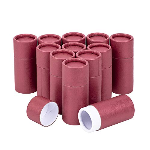 BENECREAT 12PCS 10ml Rote Kraft Pappröhrchen Runde Kraftpapierbehälter für Bleistifte Tee Caddy Kaffee Kosmetik Kunsthandwerk Geschenkverpackung
