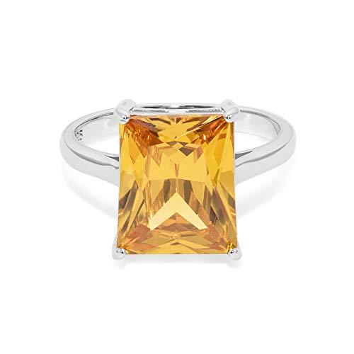 prettique® Damen Ring aus echtem 925 Sterlingsilber - hochwertiger Zirkonia Stein - funkelnder gelber Citrin Ring - Anlaufschutz & Nickelfrei - vom königshaus inspiriert