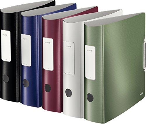 Leitz Qualitäts-Ordner 180° Active Style in gebürsteter Alu-Optik, A4, runder Rücken, 8,2 cm Breite, Gummibandverschluss (5er Set, Alle 5 Farben)