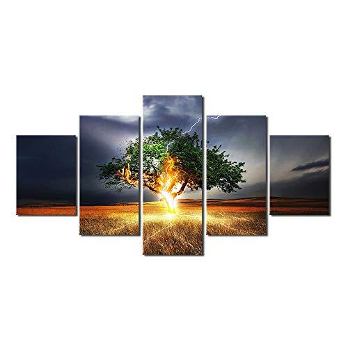 5 sjablonen high-definition druk boom donner canvas afbeelding woonkamer decoratie uniek landschap muur handwerk 40x60cmx2,40x80cmx2,40x100cmx1 Geen frame.