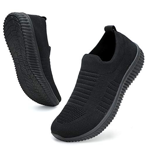 ZHR Slip on Damen Sneaker Sportschuhe Mesh Leichte Outdoor Walking Schuhe Schwarz EU36